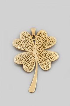 ANA Jewellery  Altın Renk Yonca Kolye Ucu