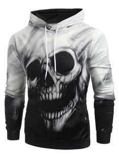 Halloween Skull Graphic Kangaroo Pocket Hoodie Gift idea for man Cheap Hoodies, Cool Hoodies, Hoodie Outfit, Hoodie Jacket, Sweat Cool, Ärmelloser Pullover, Slim Fit Hoodie, Mens Clothing Sale, Men's Clothing
