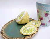 Lemon Toy Play Food Knitting Amigurumi Food Play Kitchen Play Set