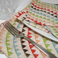 Dinner  Napkins  - Cotton EcoFriendly Washable Dryable Reusable - Pennants -  set of 4