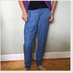 """Forever 21 denim Lounge Pants S Soft and light denim look pants with pockets. Perfect to pair with a heel or sneakers and a tee. Like new. Elastic waist. 28"""" inseam. Forever 21 Pants Trousers"""