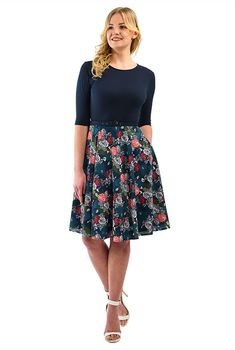 Rose print mixed media belted dress
