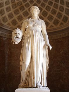This colossal Roman statue of a female has been restored as the muse Melpomene with the addition of a modern mask. It is however thought that this sculpture might have originally been part of the Theatre of Pompey in Rome. in height, dates to circa 50 BC Ancient Rome, Ancient Greece, Ancient Art, Ancient History, Roman Sculpture, Stone Sculpture, Muse, Ancient Roman Clothing, Gaule Romaine