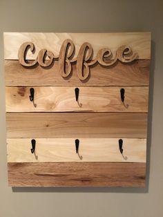 Coffee Signs, Wooden Cutouts, Farmhouse Decor, Keyhole Hanger, Coffee Cup Rack, Mug Rack, Picture Mugs, Rack, Coffee Cups