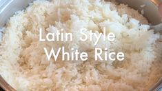 Classic Dominican (Latin Style) White Rice goes perfect with some chicken, beef or anything really, over rice food videos Dominican White Rice (Latin Style) Spanish White Rice Recipe, White Rice Recipes, Rice And Beans Recipe, Rice Recipes For Dinner, Bean Recipes, Mexican Food Recipes, Italian Recipes, Latin Food Recipes, Mexican White Rice