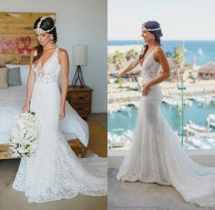 White Full Lace Beach Wedding Dresses V Neck Backless A Line Bridal Gowns 2016 Lace Appliques Beaded Court Train Vintage Bride Dress 2015 Wedding Gowns Affordable Wedding Dress From Dmronline, $128.05| Dhgate.Com