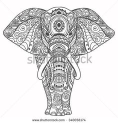Greeting Beautiful card with Elephant. Frame of animal made in vector. Perfect cards, or for any other kind of design, birthday and other…