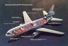 "vintage-airliners: "" American Airlines DC-10 Luxury Liner Cutaway www.facebook.com/VintageAirliners ~✈ "" Douglas Aircraft, Air Festival, Vintage Airplanes, Aircraft Design, Air Travel, Air Show, Cutaway, Vintage Designs, Vintage Ideas"