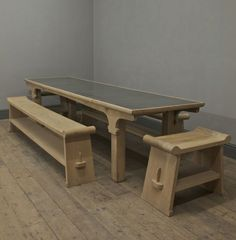 The Oxburgh Table - An elegant worn oak refectory table inspired by the early architecture of Oxburgh Hall. Shown here with examples of The Grecian Bench.
