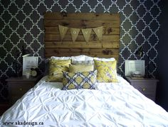 aka design master bedroom reveal. Love the stenciled wall, and headboard.