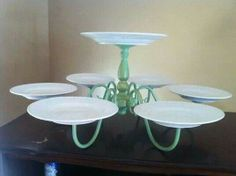 Old light fitting & plates = serving platter