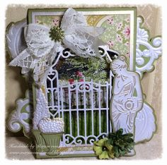 Card by DT member Marjan with among others Craftables Garden Statue (CR1301), Topiary Set (CR1303) and Garden Gate (CR1304) by Marianne Design