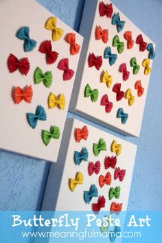 Pasta Canvas Art Butterfly Pasta Canvas Art made from Pasta! Great for a kids' room, playroom or craft area. - Meaningful MamaButterfly Pasta Canvas Art made from Pasta! Great for a kids' room, playroom or craft area. Kids Crafts, Crafts To Do, Preschool Crafts, Arts And Crafts, Craft Kids, Pasta Kunst, Pasta Crafts, Pasta Art, Kids Canvas Art