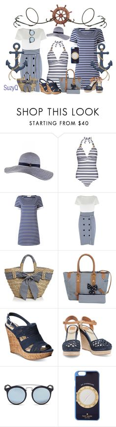 """""""Anchors ⚓️Away"""" by suzettestokes ❤ liked on Polyvore featuring Black, Heidi Klein, Tory Burch, Closet, Filippo Catarzi, Samantha Thavasa, American Rag Cie, Ray-Ban and Kate Spade"""