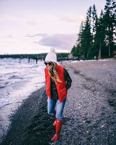 Red Hunter boots & J.Crew puffer vest - Julia Engel