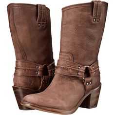 Frye Carmen Harness Short Cowboy Boots, Brown ($195) ❤ liked on Polyvore featuring shoes, boots, brown, mid-calf boots, distressed leather boots, leather cowgirl boots, mid calf leather boots, cowgirl boots and western boots