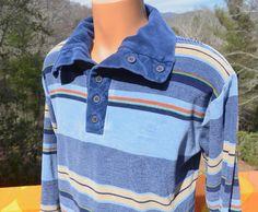 vintage 70s velour polo shirt STRIPES blue by skippyhaha on Etsy, $25.00