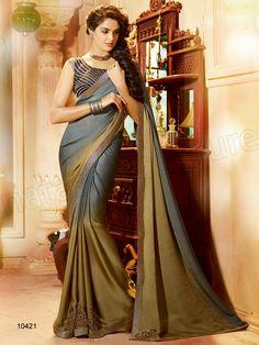 #Designer Sarees#Grey & pale Green #Indian Wear #Desi Fashion#Natasha Couture#Indian Ethnic Wear