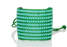 Czech Turquoise Bead Hand-knotted on Apple Green Wax Cord with Macrame Slide Closure
