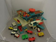 Vintage 1970s Fisher Price Little People Airport Lot Figures Airplane Cars Etc #FisherPrice