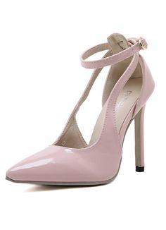 Pink Stiletto High Heel Buckle Pumps 31.00