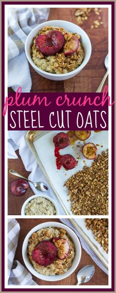 How to roast summer fruit, then use it to top the best oatmeal of your life! Try this recipe with any of your favorite summer fruits like plums, peaches, and cherries #glutenfree #breakfast #healthy #oatmeal