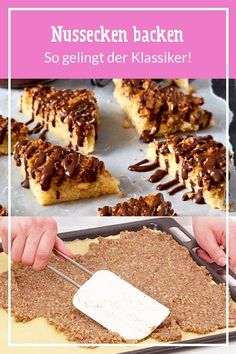 Klassische Nussecken # Nut corners have everything your heart desires: # chocolate, # caramel and # nut. Pastry Recipes, Meat Recipes, Slow Cooker Recipes, Low Carb Recipes, Baking Recipes, Cookie Recipes, Dessert Recipes, Healthy Recipes, Health Desserts