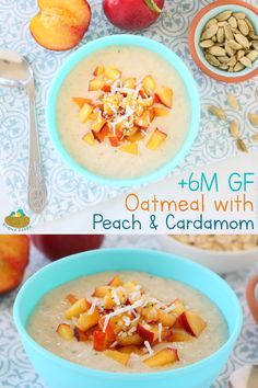 Peach Cardamom Oatmeal +6M GF Creamy, tasty, fruity and loaded with nutrients. Cardamom is a natural anti-inflammatory and anti-bacterial spice, helps digestion and is baby friendly. Baby Breakfast, Breakfast Recipes, Stomach Pain And Bloating, Baby Food Recipes, Sweet Recipes, Peach Oatmeal, Fennel Seeds, Oatmeal Recipes, Fresh Fruit