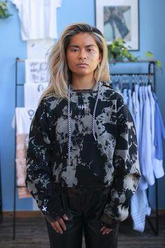 Black Long Sleeve Hoodie Bleach Tye Dye Smoke Gradient | Consttant Black Hooded Sweatshirt, Hooded Sweatshirts, Hoodies, Cold Weather Gear, Tye Dye, Bomber Jacket, Shop Ideas, Long Sleeve, Bleach