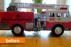 Before & After: Upcycled Fire Truck Lamp