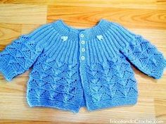 Casaquinho Ana em tricô (para menino) – Tricotando Crochê