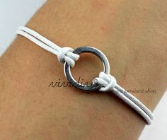 Circle bracelet-Ring bracelet-White wax cord handmade jewelry-Personalized bangle child's gift-God's blessed