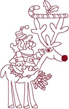 Redwork Elf & Reindeer