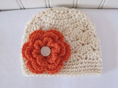 Cute & Kozy Crocheted Fall Winter Girls Shell Hat - Off White (Cream) with Orange Flower - Available in sizes Newborn to 12 Years on Etsy, $16.00