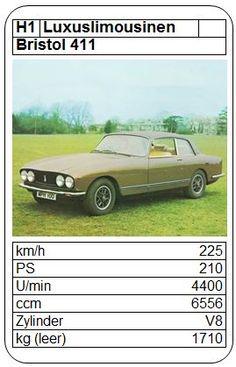Bristol 411 - ASQ - 1976 Bristol, Top Trumps, Limousine, Hot Wheels, Luxury Cars, Graphic Art, Classic Cars, Youth, Novels