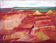 David Hockney Study of the Grand Canyon XIII, 1998 oil pastel on paper Paper: 19 3/4 x 25 1/2 in (50.2 x 64.8 cm) Framed: 24 x 30 in (61 x 76.2 cm)