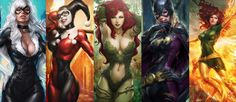 Jean Grey, Harley Quinn and Batgirl are only a few comic book girls in this post.  See the rest of the girls here - http://digitalart.io/comic-book-girls-art/