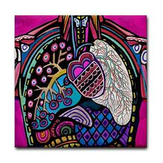 60% Off Discount Code OFFNOW60 Heart Lungs Anatomy Art Tile Ceramic Coaster Medical Science Print on Tile (HG686)