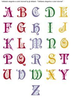 alfabeto elegante a colori sfumati