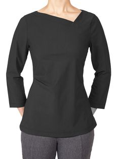 Porto's Chariot Top features an angled neckline, a tuck at one side of the waist, and 3/4 length sleeves. Made from microfiber jet jersey from Italy- a washable, stretch fabric that is extremely comfortable and wrinkle resistant. Stretch Fabric, Jet, Neckline, Italy, Boutique, Sleeves, Sweaters, Clothes, Tops