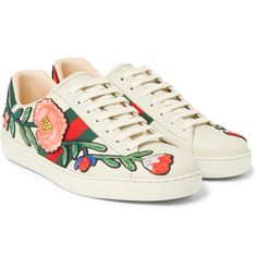 This latest instalment of <a href='http://www.mrporter.com/mens/Designers/Gucci'>Gucci</a>'s 'Ace' sneaker is an artisanal take on the classic sporty style. Modelled on retro tennis shoes, they're updated with floral embroidered appliqués and signature grosgrain trims. The heels are panelled with shiny red and green snakeskin, adding a luxurious touch. Let this pair hold focus by teaming them with pared-back looks.