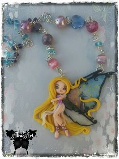 collana con fatina rapunzel modellata a mano by AlinaArtCreations