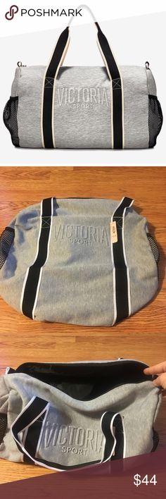 Victoria Secret Duffle Bag Victoria Secret Duffle Bag. Gray fleece duffle bag. New in plastic bag, taken out for picture only! Victoria's Secret Bags Travel Bags