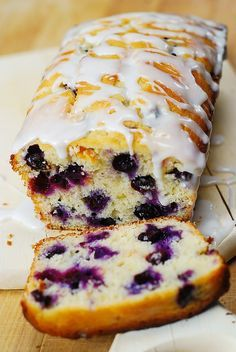 Blueberry Bread with Lemon Glaze - by JuliasAlbum.com
