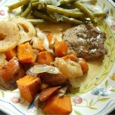 Pork Chops with Apples, Onions, and Sweet Potatoes - Allrecipes.com