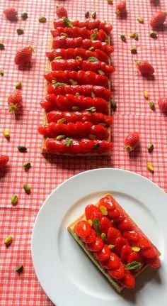 Tarte aux fraises crème pistache