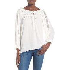 Devlin 'Marina' Peasant Blouse ($88) ❤ liked on Polyvore featuring tops, blouses, white, white ruched top, white peasant top, ruched top, peasant tops and boatneck top
