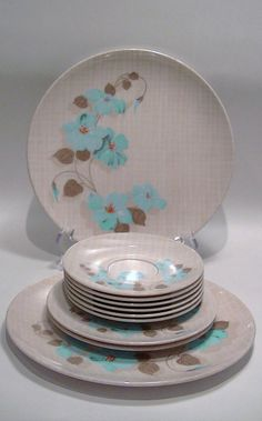 Melmac Melamine Dinnerware Made in Canada by Lifeinmommatone $20.00 & Laurie Gates Floral Embossed 16-pc Melamine Dinnerware Set ...