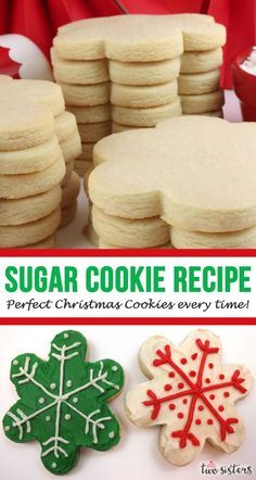 Do you want to know the secret for making the perfect Christmas Sugar Cookies every time? Use this Sugar Cookie Recipe. They are easy to make, taste amazing and hold their shape every time! This is the only Sugar Cookie baking tip you are ever going to Homemade Sugar Cookies, Best Sugar Cookies, Christmas Sugar Cookies, Chocolate Cookie Recipes, Peanut Butter Cookie Recipe, Easy Cookie Recipes, Sugar Cookies Recipe, Chocolate Chip Cookies, Christmas Sweets