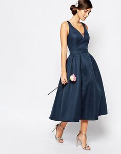 Chi Chi London Skater Midi Dress with Keyhole Back Detail in Navy